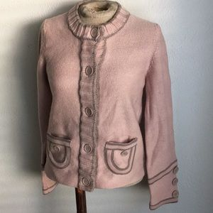 MARC JACOBS WOOL MAUVE MILITARY STYLE CARDIGAN M
